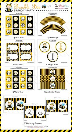 Special Price  Bumble Bee Birthday Party Package by leelaaloo, $29.00