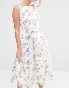 Chi Chi London | Chi Chi London Decadent Satin Midi Dress in Allover Floral Print at ASOS