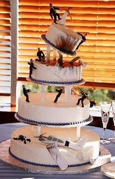 Plane crash wedding cake.