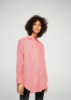 Oversized-hemd mit streifen - f füHemdblusen Damen | MANGO Deutschland