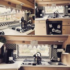 caravan pimpen Kitchen in the caravan, Airstream Interior, Vintage Airstream, Vintage Caravans, Diy Interior, Airstream Campers, Caravan Renovation Diy, Caravan Makeover, Travel Trailer Decor, Bell Tent Camping