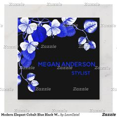 Shop Modern Elegant Cobalt Blue Black White Chic Floral Square Business Card created by LeonOziel. White Chic, Black And White, Cobalt Blue, Business Cards, Party Favors, Stationery, Things To Come, Elegant, Floral