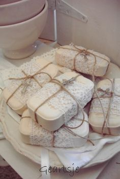 Soap wrapped in lace.. pretty