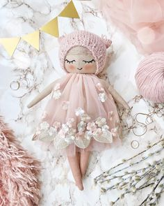 'm in love with this floral lace and I'm in love with this baby ✨She is looking for a new home at the moment 🌸More pics and all the Pretty Dolls, Cute Dolls, Doll Crafts, Diy Doll, Kids Crafts, Fabric Toys, Sewing Dolls, Soft Dolls, Handmade Toys