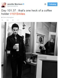 """Jennifer Morrison and Colin O'Donoghue """"That's one heck of a coffee holder !"""" :)<<<Where can I get me a coffee holder like that???"""