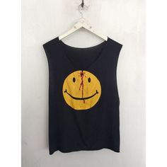 Gunshot Smiley Face shirt 1990s vintage t shirt head wound emoji shirt... ❤ liked on Polyvore featuring tops, muscle t shirts, sleeve shirt, grunge shirts, graphic tanks and graphic crop tops