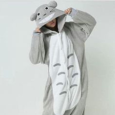 Chubby+Totoro+Grey+Polar+Fleece+Kigurumi+Pajamas+Cartoon+Sleepwear+Animal+Halloween+Costume+–+USD+$+24.99