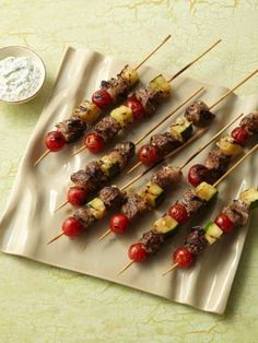Individual Grilled Lamb Kebabs made with tomatoes and zucchini are perfect for Labor Day entertaining.