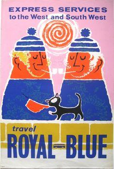 Travel Royal Blue, UK. Lovely northern fishermen! Poster design by Daphne Padden.