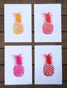 Set of 4 One-of-A-Kind  Original Art Print Monotypes