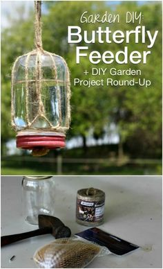 Try these 10 DIY butterfly feeders to your garden. Attract Butterflies By Making A DIY Feeder. This summer crafts project is for you. Butterfly Feeder, Diy Butterfly, Butterfly Plants, Outdoor Garden Bench, Garden Planters, Patio, Outdoor Decor, Landscaping With Rocks, Backyard Landscaping