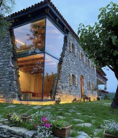 Stunning Rustic Stone House with a Modern Touch iDesignArch Interior Design Architecture Interior Decorating eMagazine home staging Modern Glass House, Glass House Design, Modern House Design, House Of Glass, Rustic House Design, Glass House Garden, Modern Brick House, Container House Design, Modern House Plans