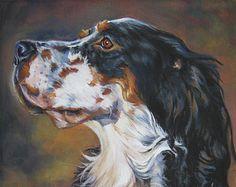 Portrait d'art chien Setter Anglais impression toile de Shepard LA peinture 8 x 10