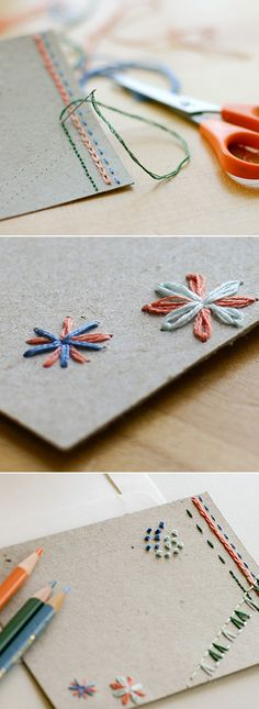 DIY hand embroidered cards