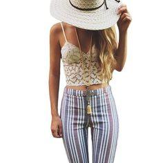 ce404acad3d43 Lace Crop Top For Women Cropped White Lace Bra Boho Strap Tank Vest  Bralette Beach Camis
