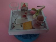 Miniature food breakfast tray with egg,spoon,letters,toast,juice dollhouse