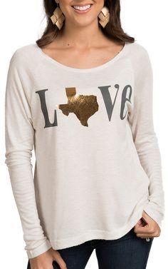 Karlie Women's White Texas Love Sweater Top