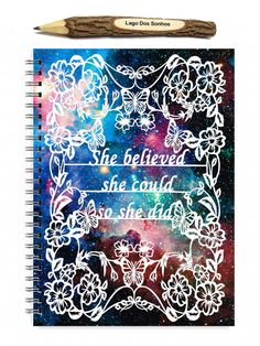 This is a 100 sheet (200 page) spiral bound notebook featuring a print of my original papercut featuring the quote she believes she could so she did, this piece is surrounded by leaves, flowers and butterflies. The print has been scanned and colour added digitally to create these striking notebook covers.  The back of the book features our printed business logo.  A5 measures 5.8 x 8.3 inches and has a spiral binding.  The finish is optional with plain pages or lined sheets making a…