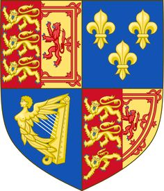 """Royal Arms of Great Britain (1707-1714).svg.  1707–1714The impaled arms of England and Scotland reflecting their merging into one kingdom of """"Great Britain""""."""
