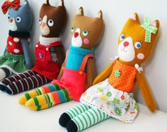 Handmade Cloth Cat Doll, Unique Felt Doll, Miniature Rag Doll, Children Friendly Doll, Girls Room Decor, Stuffed Cat Toy, Soft Animal Plush