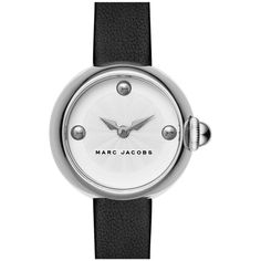 MARC JACOBS 'Courtney' Leather Strap Watch, 28mm (235 AUD) ❤ liked on Polyvore featuring jewelry, watches, chunky watches, marc jacobs, cabochon jewelry, chunk jewelry and leather strap watches