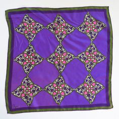 Frame it and hang it up! Vintage VERA Violet Purple Rayon-Silk Scarf  22x22 by KitschNCloth