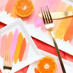 DIY Painted Brushstroke Plates