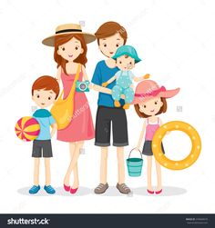 Happy Family With Summer Trip, Vacations, Holiday, Travel Destination… Summer Travel, Holiday Travel, Baby Equipment, Happy Family, Summer Kids, Free Vector Art, Travel Destinations, Travel Tips, Vacation