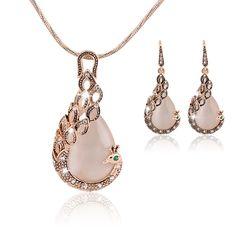 Ювелирные комплект KC розовое золото заполненные опал кристалл павлин ожерелье серьги свадьба ювелирные изделия комплект для женщины купить на AliExpress