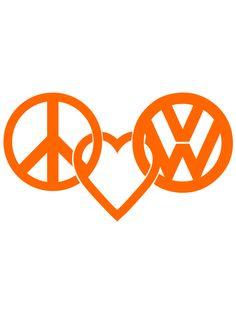 Peace Love VW Logo Decal Sticker in Orange