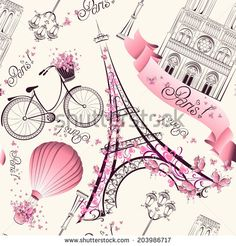 Paris symbols seamless pattern. Romantic travel in Paris. Vector  - stock vector  id 203986717