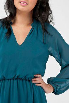 long sleeve dress in lagoon blue