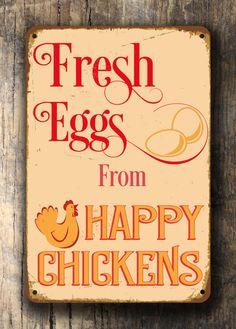 Fresh Eggs Sign Vintage style Aluminum by ClassicMetalSigns
