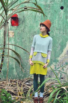 Ringo YU | Pastel colour jumper with decorative flaps