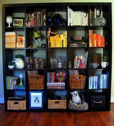 cube bookcase organization