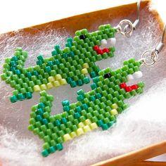 Alligator Earrings Seed Bead Jewelry Animal Bead by BeadCrumbs
