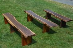Wooden Bench, Outdoor Seating, Reclaimed Wood, Salvaged Materials, Recycling, Wooden Furniture, Rustic Furniture, Live Edge   These rustic outdoor live edge garden benches are made from reclaimed heart pine, long leaf southern pine. Depending on which coloring you like, the top of the bench would be made out of Spalted Maple, Black Walnut, or Cherry. Each bench is unique and showcases the woods natural knots and wood grain design. The benches in the picture are from 5 to 8, and about 1…