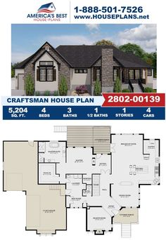 Introducing Plan 2802-00139, a Craftsman home design that offers 5,204 sq. ft., 4 bedrooms, 3.5 bathrooms, a breakfast nook, a keeping room, a mud room, a sitting room and more. Learn all about Plan 2802-00139 and its features on our website today!
