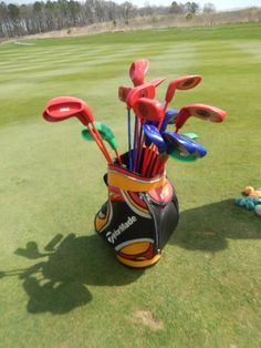 Want to make a 9-hole tournament interesting? On one hole, make the golfers use this kid friendly club and tennis ball set!