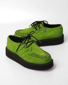 T.U.K. Men's Original Suede Creeper Shoe W/ Thick Sole - Acid Green