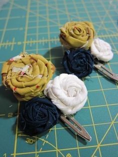 Fabric Rosettes for jewelry, hair clips, and accessories