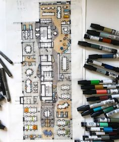 "12.3 mil Me gusta, 27 comentarios - ArchiSketcher (@archisketcher) en Instagram: ""Floor plans read so much better when drawn and coloured by hand! Chartpak markers on layer paper.…"""