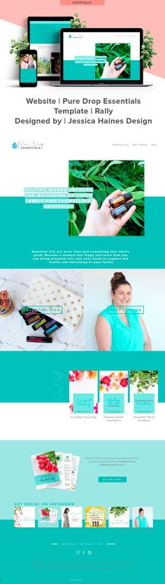 Pure Drop Essentials   Custom Squarespace website design for Pure Drop Essentials, and essential oil business empowering women to use essential oils for the well-being of their families. If you want to help take your business to the next level, click through to see what your new Squarespace website and brand refresh could look like!   www.jessicahainesdesign.com Calming Colors, Banner Images, Drop, How To Make Buttons, Custom Fonts, Graphic Design Projects, Cool Websites, Design Process, Portfolio Design