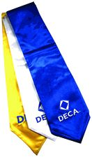 Blue stole features new stacked DECA logo. Embroidered in white. $12.00
