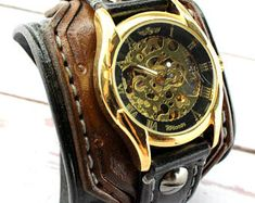 Gold Steampunk watch, Leather wrist watch, Men's watch, Leather cuff watch, Men's gift, Anniversary gift