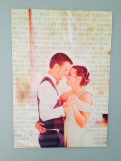 First dance picture with song lyrics on it. Metal print.
