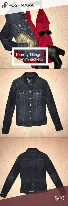 Tommy Hilfiger denim jacket 🖤 Tommy Hilfiger Denim Jacket Product Details: Cotton/Elastane Machine washable Imported Point collar Button closures at front Flap pockets at chest Offseam pockets at waist . * Excellent used condition  * Size : extra small  * Clothes are from a pet free and smoke free environment Tommy Hilfiger Jackets & Coats Jean Jackets