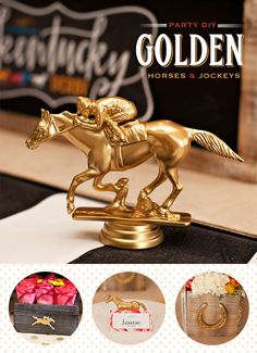 Kentucky Derby® DIY #1: Golden Horses and Jockeys. Kentucky derby theme party