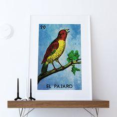 Loteria El Pajaro Mexican Retro Illustration Art Print Vintage Giclee on Paper Canvas Poster Wall Decor  #mexican #mexico #print #homedecor #retro #art #homedecorideas #wallart #mexicanart #mexicanfolkart #loteriaprint #artprint #giclee #art #bingo #hand #handmade #print #mexicanfolkart #kitch #vintage #largegiclee #etsy #elpajaro #pajaro #elpajaroprint