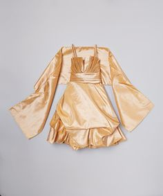 Look what I found on #zulily! Princess Diaries Gold Sparkle Ruffle Dress - Toddler & Girls by Princess Diaries #zulilyfinds